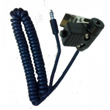 Helicopter Headset / Helmet Extension Lead With PTT (Coiled)